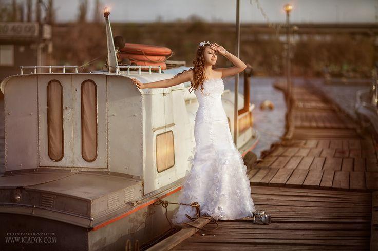 свадьба, невеста, причал, катер,