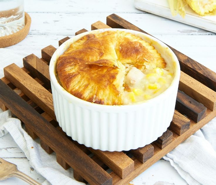 These individual Chicken and Corn Pot Pies look and taste impressive but are actually so easy to prepare. Just 316 calories per serve.