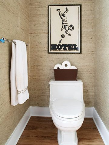 Wallpapers bathroom and powder rooms on pinterest for Grasscloth wallpaper in bathroom