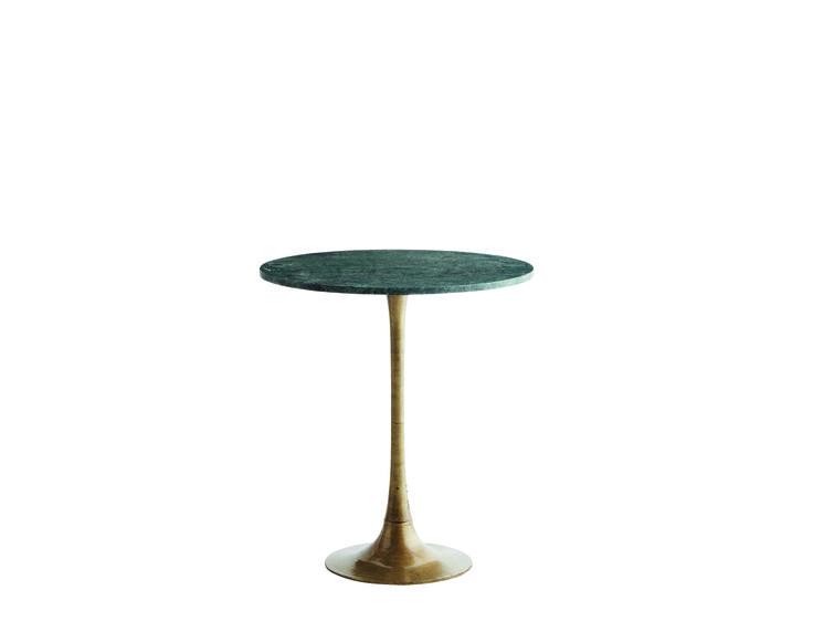 Elancé N°10 : Guéridon avec plateau en marbre vert (ou blanc) et pied en laiton Ø 56 x H 62cm. Table bistrot, 452€. Madam Stoltz.