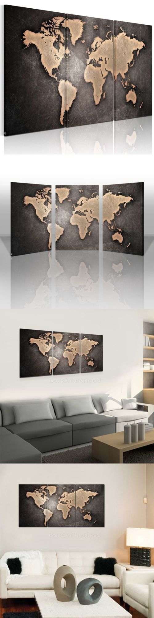 Arts And Crafts: Us Ship World Map Framed Picture Hd Canvas Print Wall Art Painting Ready To Hang -> BUY IT NOW ONLY: $40.84 on eBay!