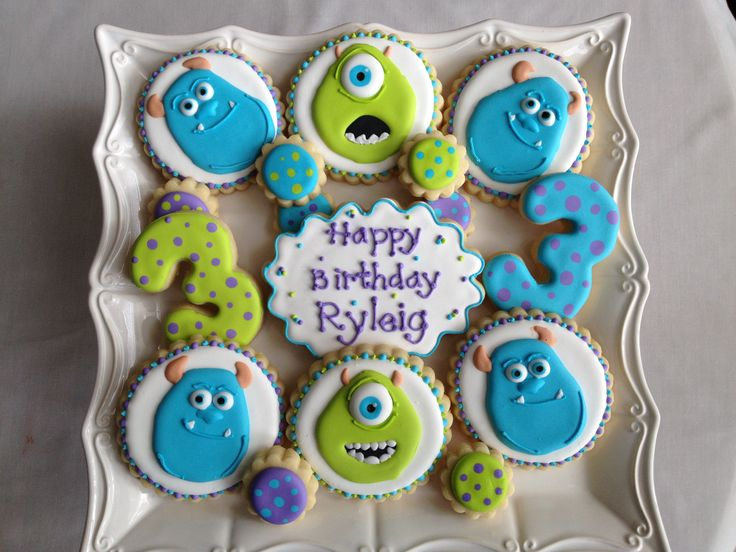 Monsters Inc. cookies for a 3 year olds birthday party!