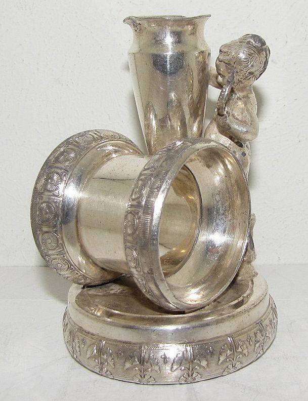 Lovely Victorian Quadruple Silver Plate Figural Napkin Ring