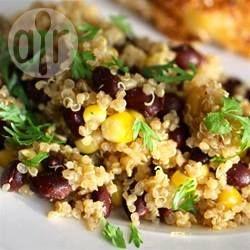 Slaatje met quinoa en zwarte bonen