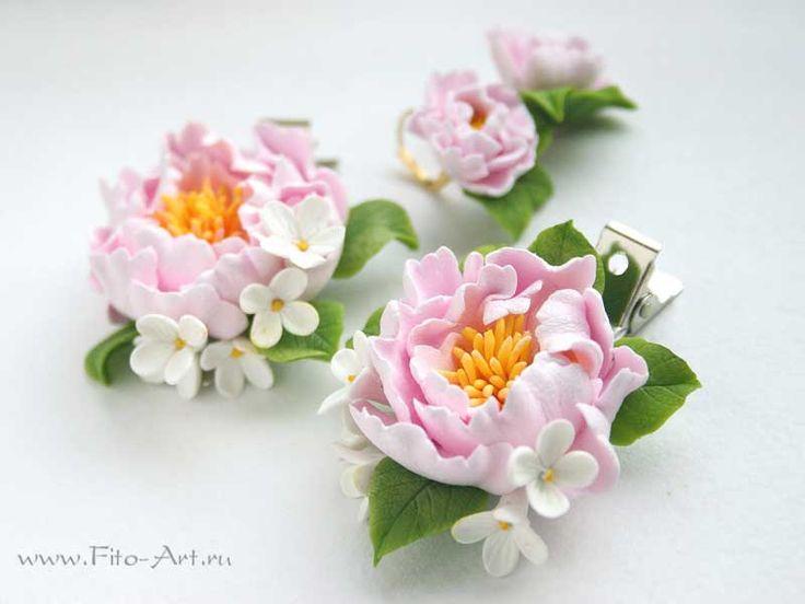 Украшения : Зажимы для волос и серьги с розовыми пионами - Fito Art