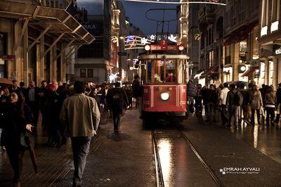 Taxim, Beyoglu, Tram in crowd