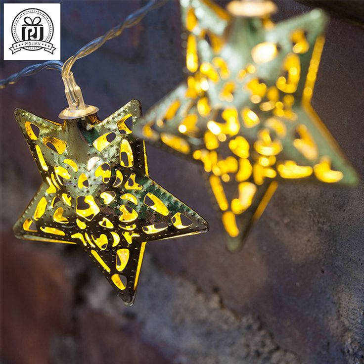 Hollow Gold Star LED Fairy String Lighting For Home Wedding Decor Guirlande Lumineuse Led Christmas Lights 2016 Hot Sale