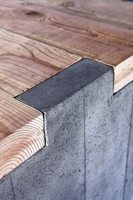 Interior design - assemblage - bois - queue d'aronde - bois - béton