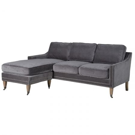 Silver left hand sofa finished in grey velvet with silver stud detail - £1,544.00 Shop > http://www.exclusiveinteriors.co.uk/living-room/sofas/silver-left-hand-sofa