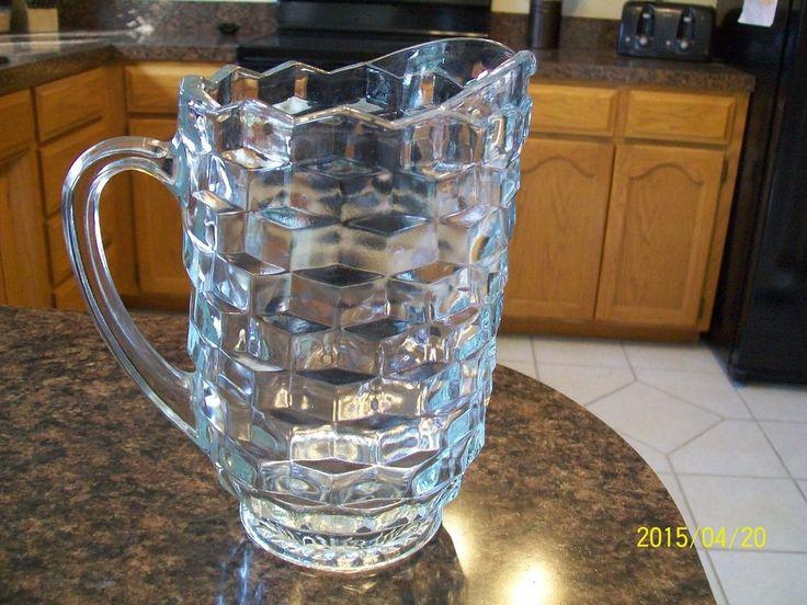 Vintage Cube Glass Pitcher Jeannette Fostoria Cubist