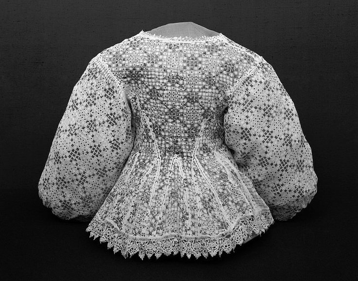Silver spangles (sequins) and drawn-thread and pulled-thread work adorn this woman's linen jacket, British, 1630-39
