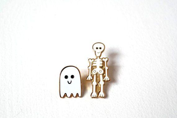 Skeleton & Ghost, Pin Badges, Pins, Ghost Pin, Skeleton Pin, Enamel Pin Badge Set, Lapel Pins