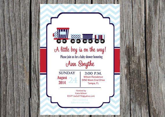 Train Baby Shower Invitation, trains, boy invitation, baby shower, DIY, printable and custom