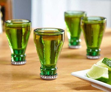 Add some unique fun to your next party with these bottle top shot glasses! They have been recycled from actual bottles, which makes the metal cap the bottom of the shot glass. Perfect for your home bar or man cave.
