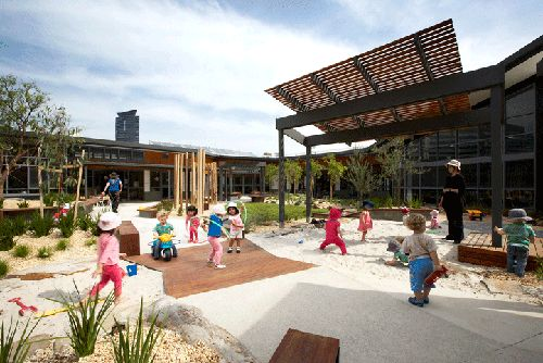 The Harbour Family and Children's Centre in Melbourne's Docklands landscaped outdoor area was designed by Hassell.