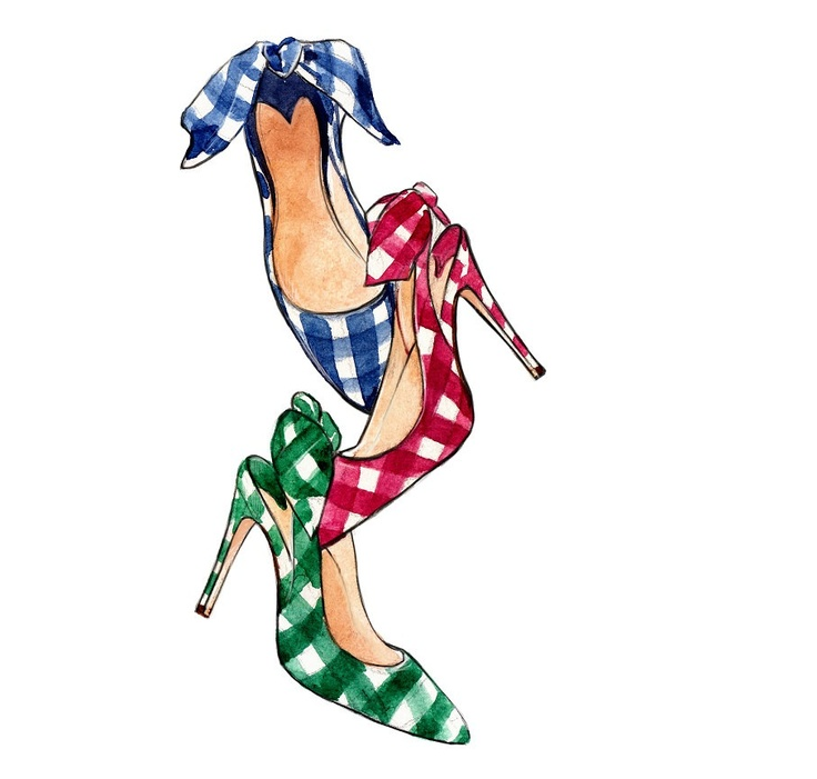 Gingham Fashion Illustration, Miu Miu Slingbacks, Watercolor Art Print. $10.00