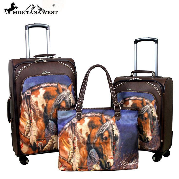 Mwl01 L002 1 6 Montana West Horse Art 3 Pc Luggage Set