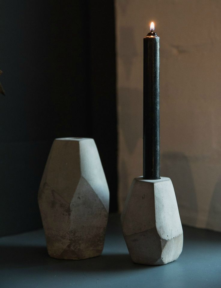 Grey Concrete Candlestick Holders at Rose & Grey