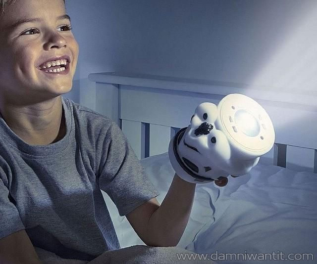 You can now help your child earn his independence at night using this awesome night light in shape of a stormtrooper's helmet. The coolest thing about this night light is that it's battery operated which means no pesky wires… AND when it's picked up it transforms into a flashlight so the young Padawan has the light with him wherever he goes in the night. It is also very efficient, it automatically turns of in 10 minutes and it's very cool t ..