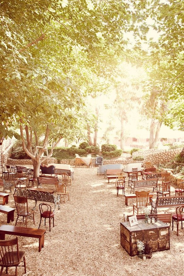 Love all the different chairs and benches. So pretty!! ceremony seating?