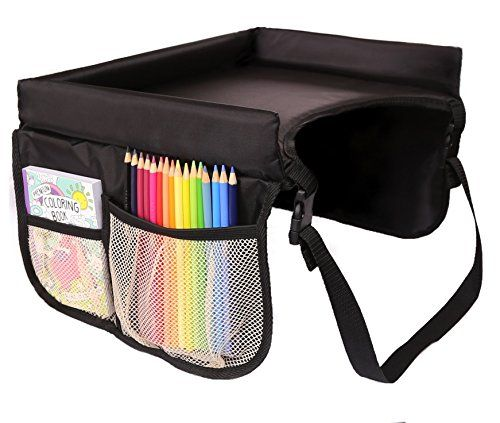 Lebogner Kids Car Seat Travel Tray - Play, Study, Eat And Snack Table For Car Seats, Strollers And Planes With 4 Organizer Mesh Pockets, On The Go Portable Activity Lap Tray For Toddlers Booster Seat