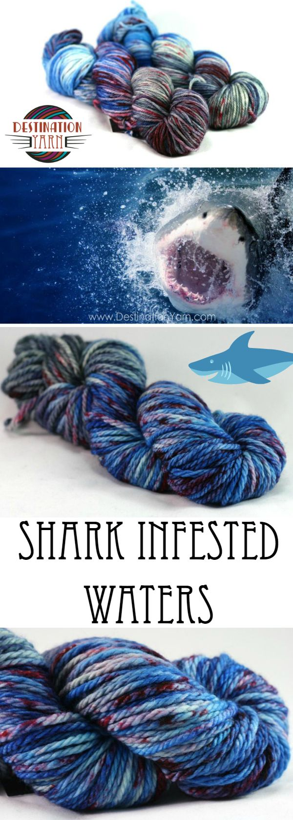 Violently swirling blue water, with flashes of steel grey and splotches of deep red. Horror story or beautiful yarn? Hand-dyed, bulky weight yarn for knitting, crochet, and DIY crafts. Shark Week!