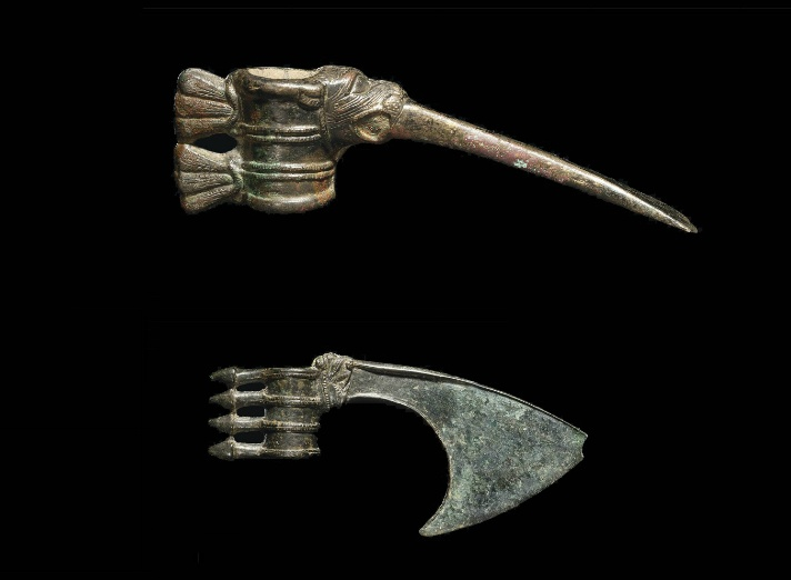 ancient adze. two luristan bronze axe heads, circa late 2nd - early 1st millennium bce. one ancient adze