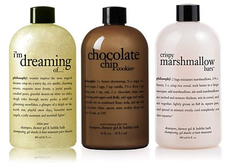 Philosophy skin care products...who wouldn't want their bath to smell like chocolate chip cookies or marshmallow bars?