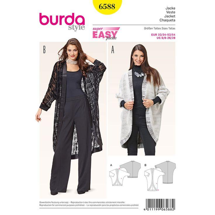 Misses Jacket Burda Sewing Pattern 6588. Size 6-28.