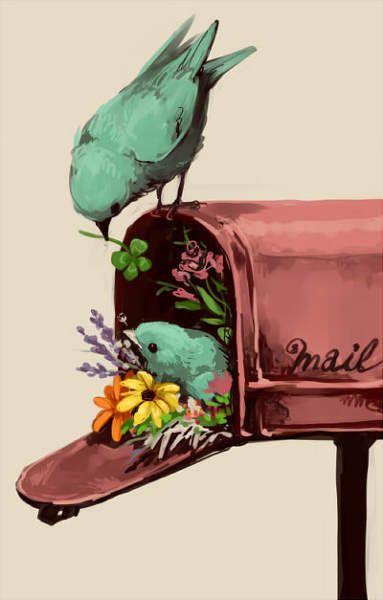 Love this so much <3: Mailbox Birds, Illustration, Bird Nests, Bird Art, Painting, Animal, Mail Birds