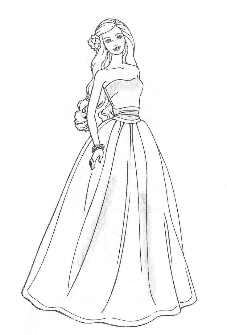princess gown coloring pages - photo#17