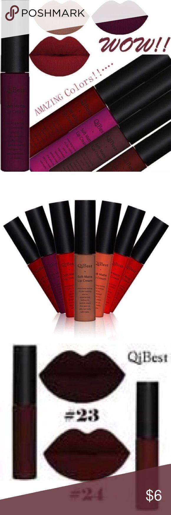 Soft matter lip cream dark rouge Matter. Long lasting. Waterproof. QiBest brand. Dark rouge. Number #24. Still in original packaging. Qibest Makeup Lipstick