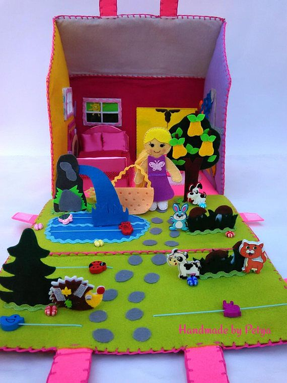 Bag dollhouse/ Fabric Dollhouse/ Travel toy doll/ Portable