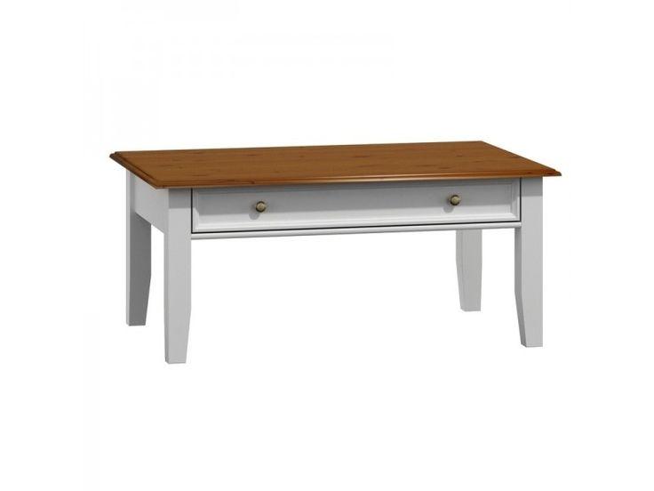 Belluno Elegante drevený konferenčný stolík, dekor biely / orech, masív, borovica