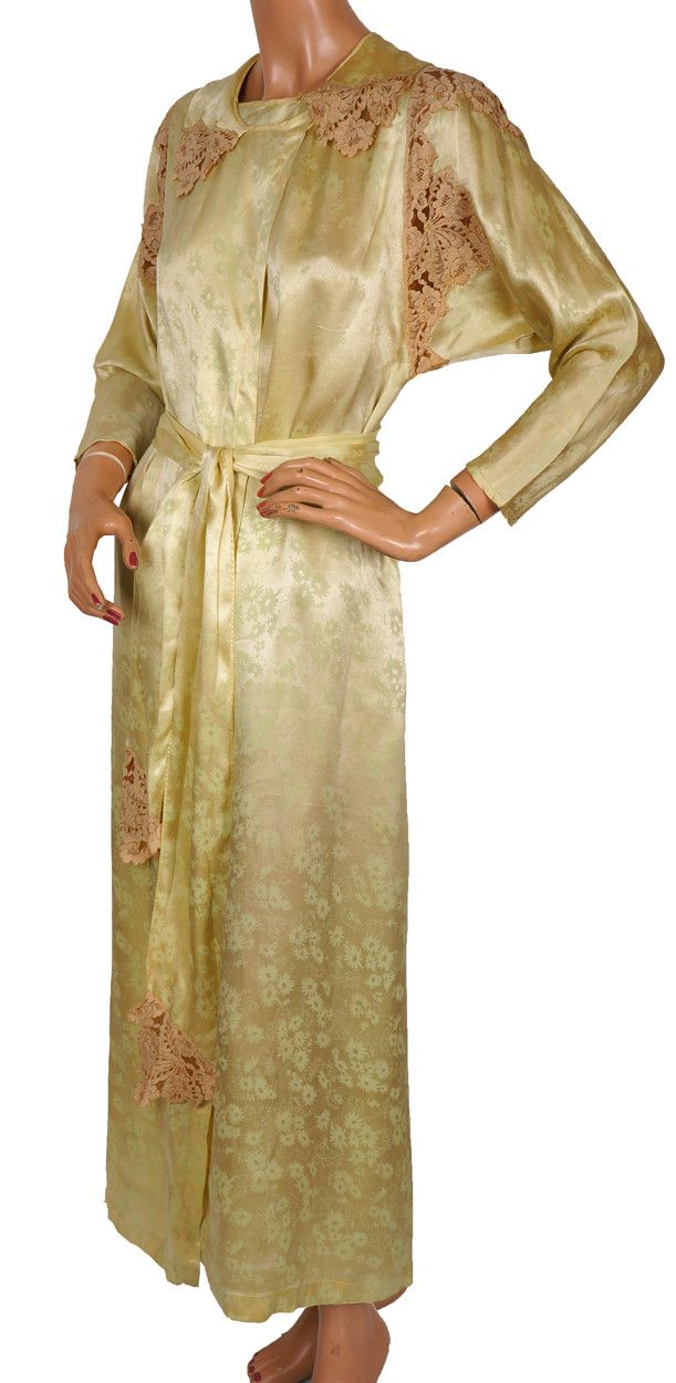30s Robe Womens Silk Dressing Gown Vintage