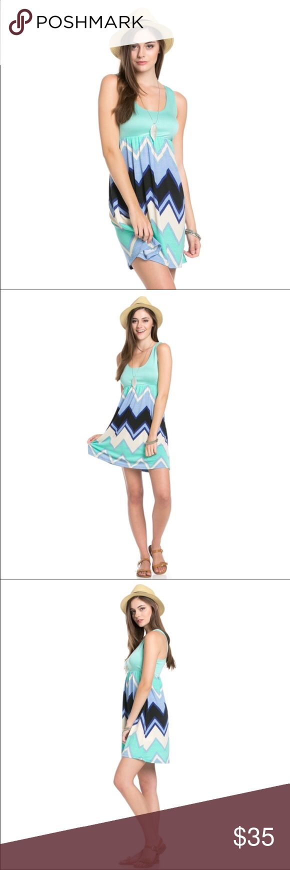 📦COMING SOON📦 Mint Chevron Dress So cute at a Summer Party, Casual date, or just hanging out with friends!  Sleeveless Mint Chevron Dress.  95% Polyester 5% Spandex.  🎀 Dresses Midi