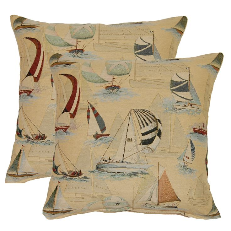 Sailing Blue 17-in Throw Pillows (Set of 2) (Throw Pillow), Multi, Size 17 x 17 (Cotton, Coastal ...