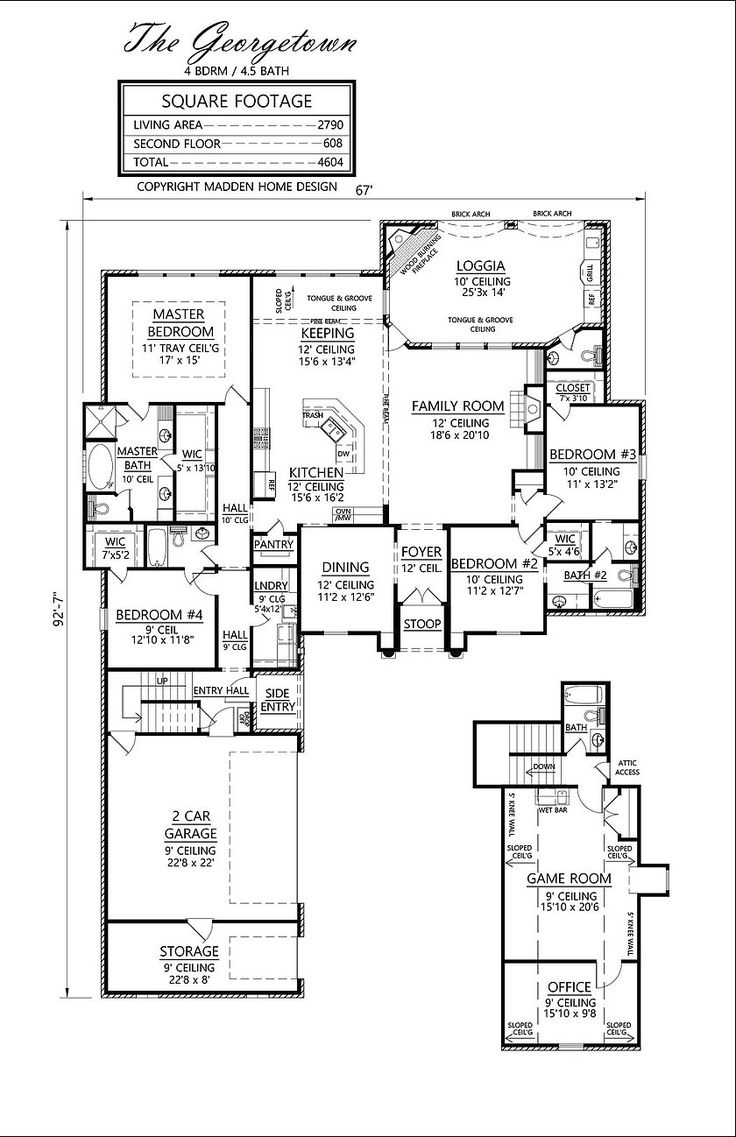 3398 Living area square feet. 4604Total Square feet; 4 bedrooms, 4-1/2 baths, game room and office over garage. Width 92'7