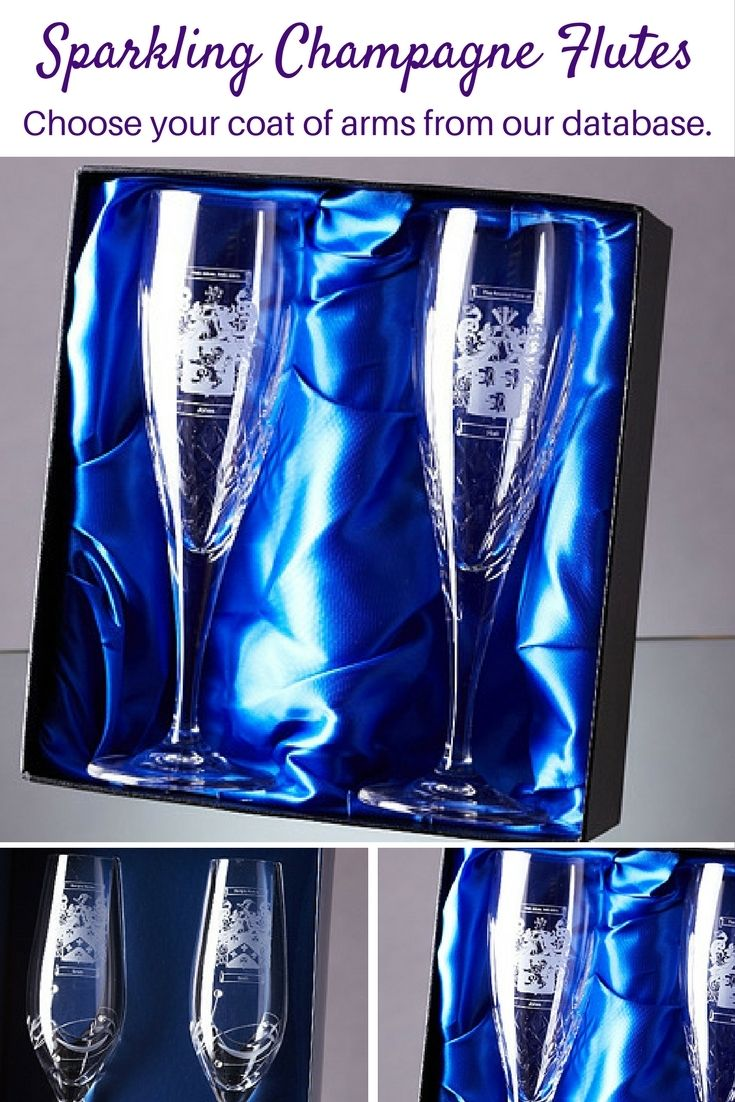 The perfect gift for a special occasion!  The Mayfair lead crystal champagne / Prosecco flute perfectly combines a modern stylish flute with a traditional diamond cut design with engraving panel. It can be personalised with any Coat of Arms. An ideal gift for weddings and anniversaries.