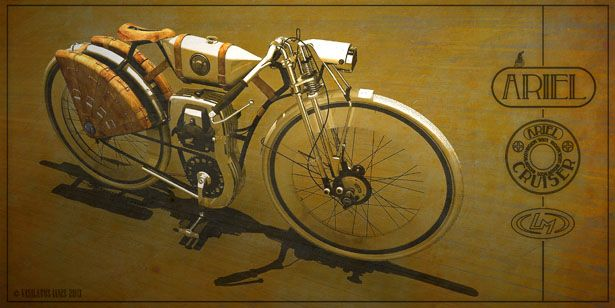 Love…love…love… those 3 words express how much I love this vintage motorcycle design from Vasilatos Ianis, Ariel Cruiser.