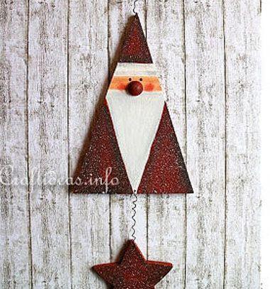 Adorable Santa mobile // Fából készült háromszög alakú Télapó // Mindy - craft & DIY tutorial collection