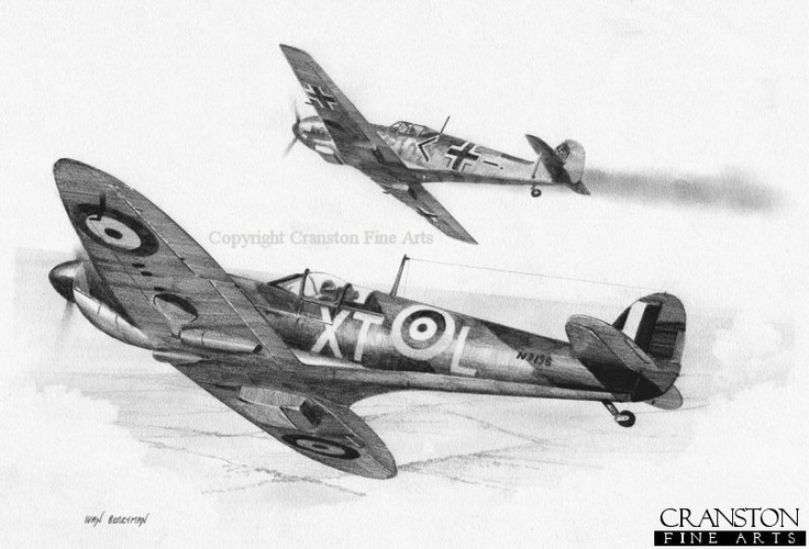 Supermarine Spitfire and what looks like a Messerschmitt Bf 109
