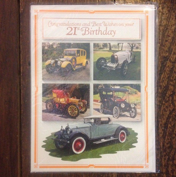 A personal favorite from my Etsy shop https://www.etsy.com/listing/237513723/vintage-twenty-first-birthday-card