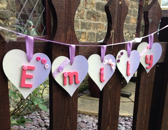 Two tone heart shaped wooden bunting by LucyMakes1 on Etsy