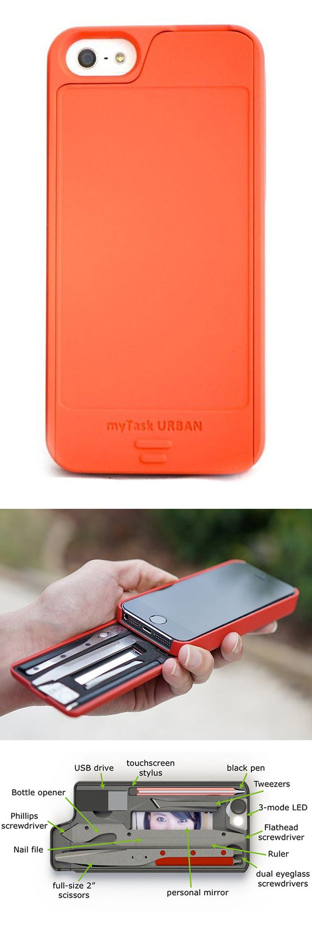 IPhone case with essential everyday tools like a pen, stylus, bottle opener, and screwdriver.