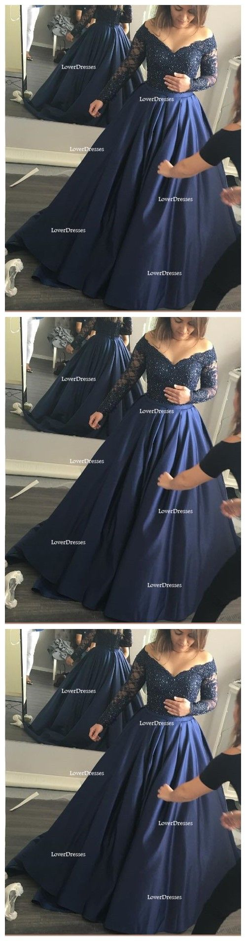 Long Sleeve Off Shoulder A line Evening Prom Dresses, Navy Blue Long Party Dresses, Prom Dresses Online, 2017 Prom Dresses, 17099
