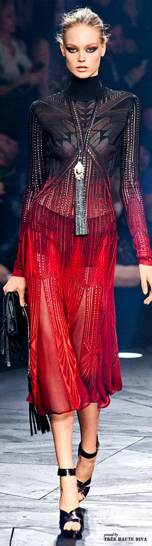 Milan Fashion Week Roberto #Cavalli Fall/Winter 2014 RTW - red and black dress