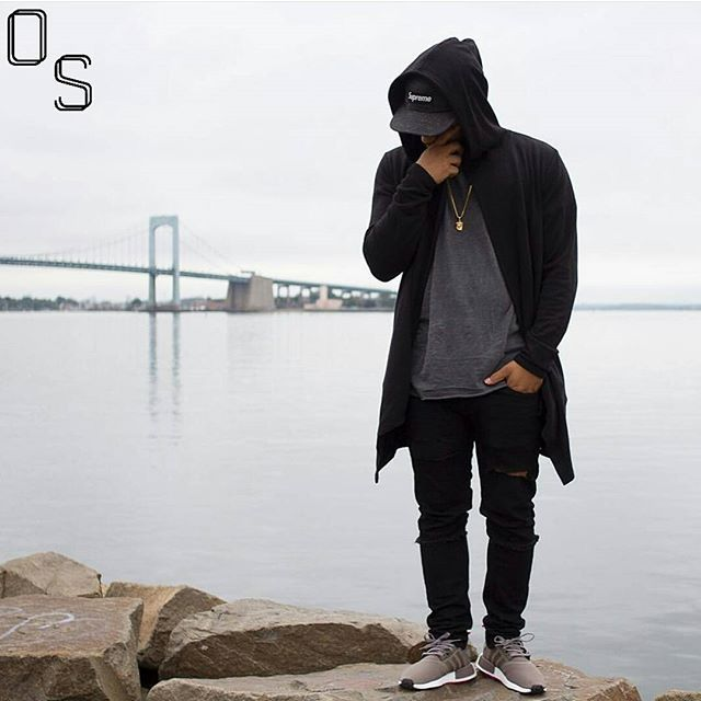 #OutfitSociety via @blvckxculture Presents @nivlek_ top 5 top five: Supreme 5 Panel Hat, Forever 21 Hooded Cardigan, H&M Shirt, Zara Jeans and Adidas NMD Boost
