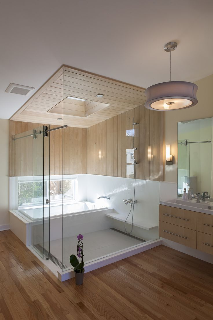 Versatile Bathtub Shower Combo Offers Amazing Experience Of Bathing: Captivating Bathtub Shower Combo With Rain Shower And Drum Pendant Also Floating Vanity