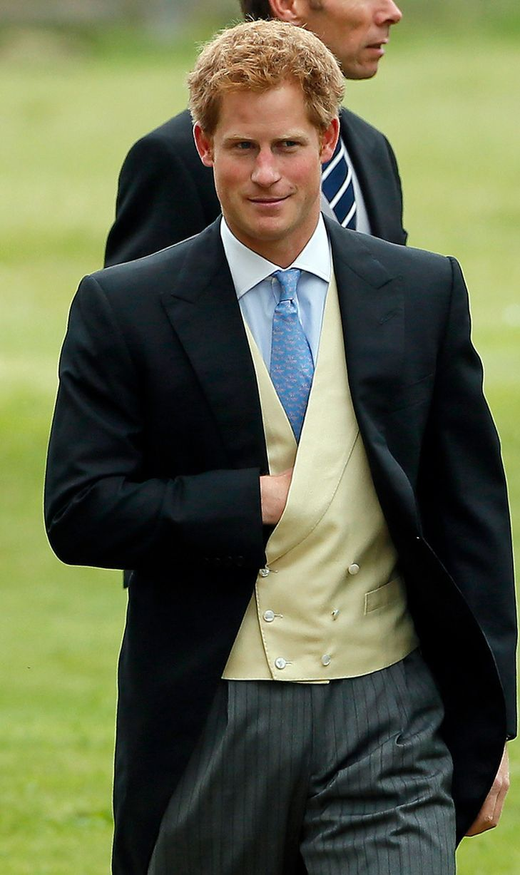 Prince Harry arrives for the wedding of James Meade and Laura Marsham, 14 September 2013